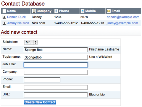 Screenshot of contact database