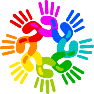 Rainbow Hand logo - only the hands - PNG